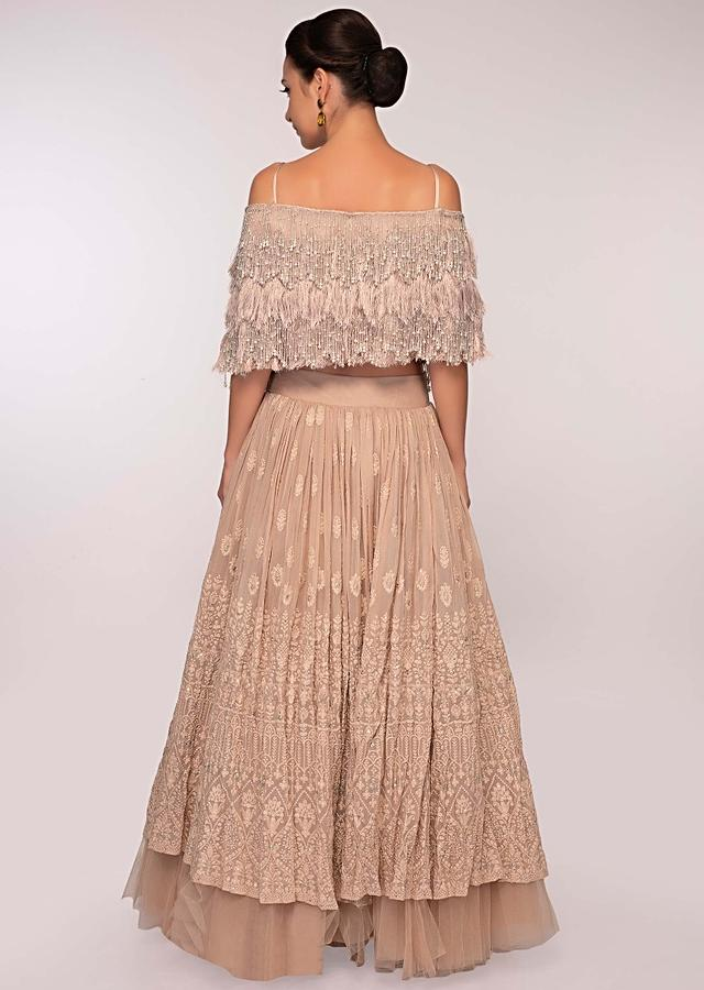 Aishwarya Sakhuja in kalki Millennial pink thread embroidered skirt with fancy strap crop top with off shoulder sleeves
