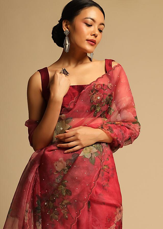 Mineral Red Saree In Organza With Floral Print All Over And Scalloped Resham Border Along With Unstitched Blouse Online - Kalki Fashion