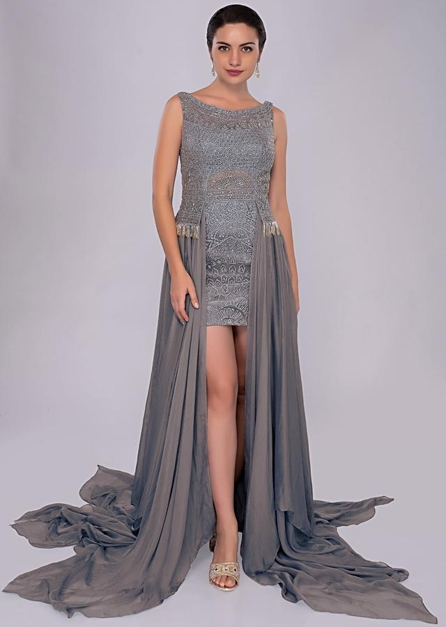 Mineral Alloy Blue Thigh Length Short Dress With Flat Chiffon Trail From The Waist Online - Kalki Fashion