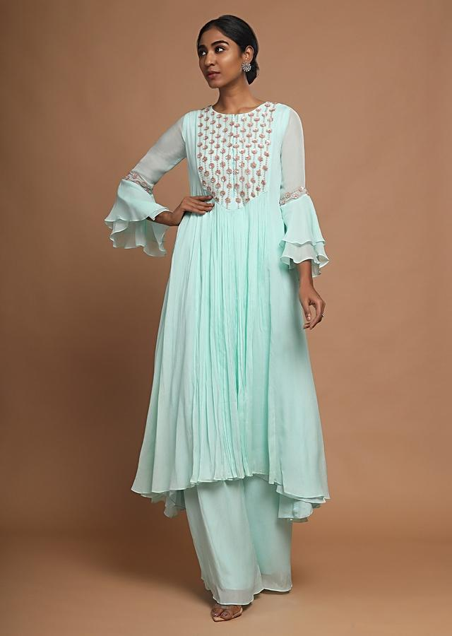 Mint A Line Suit With Palazzo Pants And Embroidered Yoke With Sequins And Pearls Online - Kalki Fashion