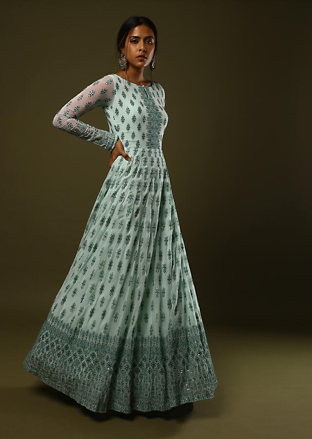 Mint Anarkali Suit In Georgette With Dark Green Thread And Sequins Embroidered Buttis And Intricate Border Design Online - Kalki Fashion