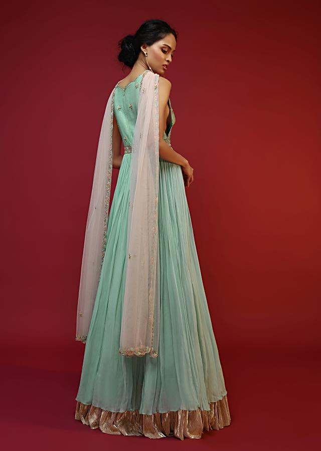 Mint Anarkali Suit With A Plunging Neckline And Hand Embroidered Buttis Featuring Multi Colored Sequins And Beads Online - Kalki Fashion