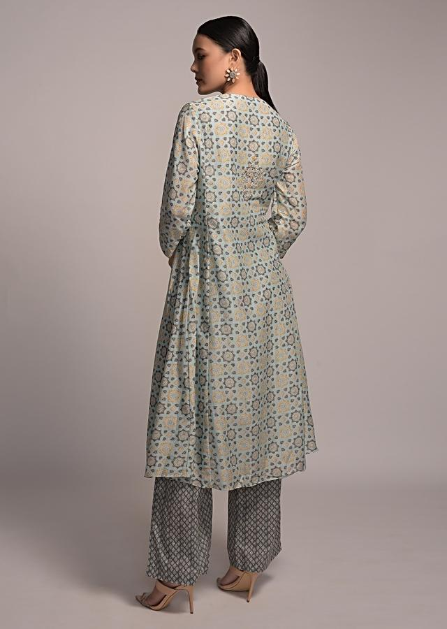 Mint Blue A Line Kurta Set In Cotton With Jaal Print And Dark Green Palazzo Pants Online - Kalki Fashion
