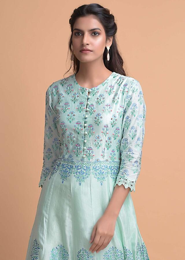 Mint Blue Anarkali Suit In Cotton Silk With Foil Print And Embroidery Work Online - Kalki Fashion