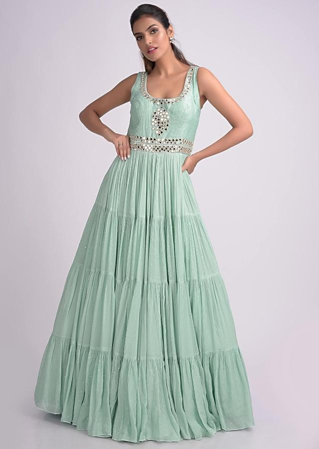 Mint Blue Anarkali Suit With Abla Embroidery And Tiered Pattern Online - Kalki Fashion