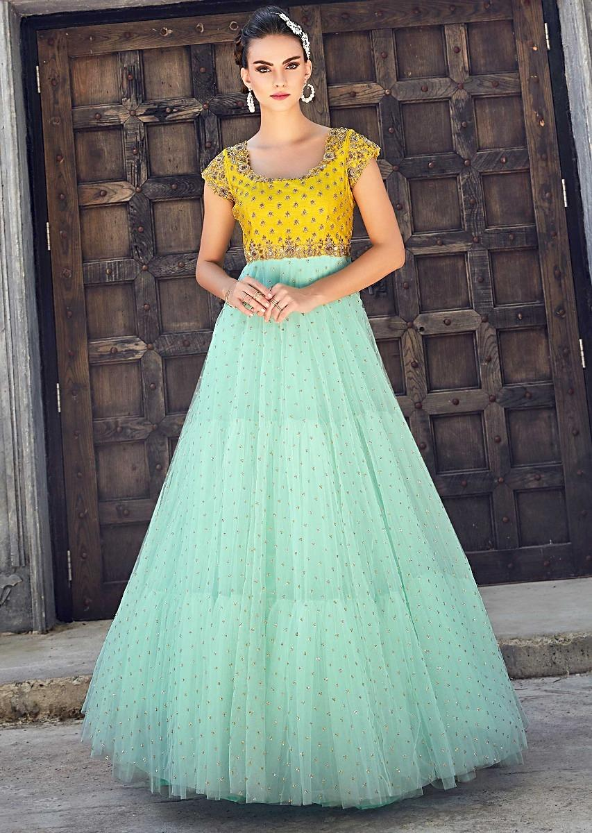 92270c2589 Mint blue and yellow anarkali suit in net with embroidered bodice