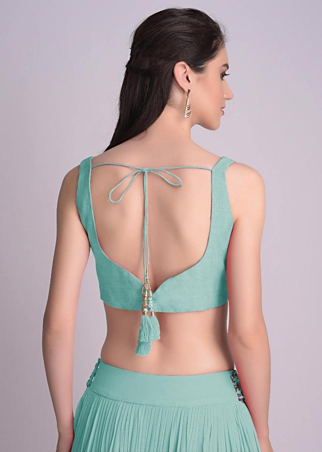 Mint Blue Blouse In Raw Silk With Sweet Heart Neckline And Hemline Online - Kalki Fashion