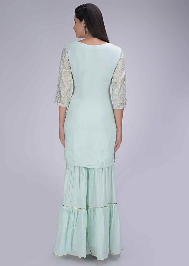 Mint Blue Sharara Suit In Cotton With Mint Green Chiffon Dupatta Online - Kalki Fashion
