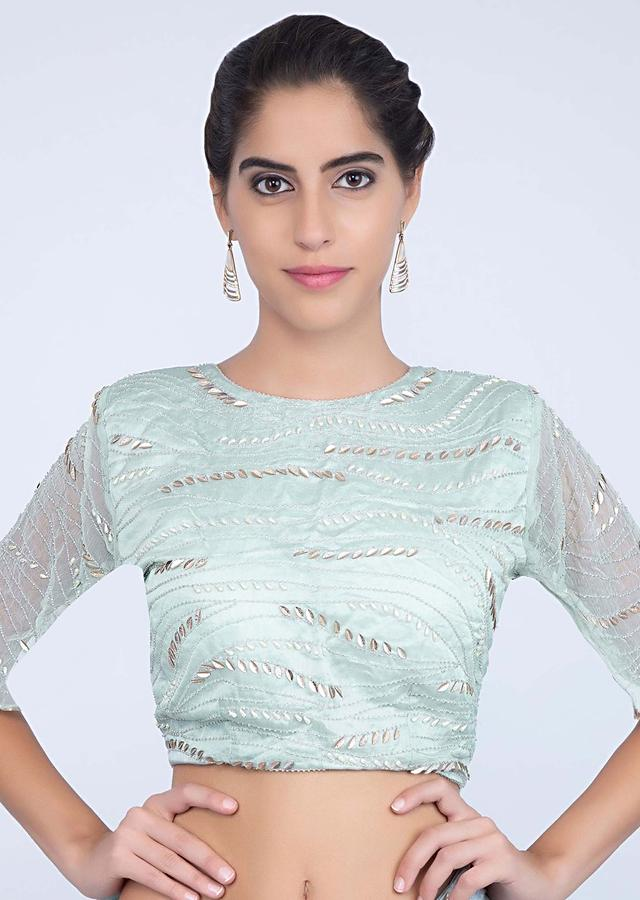 Mint Blue Saree In Embroidered Silk With Feathers Online - Kalki Fashion