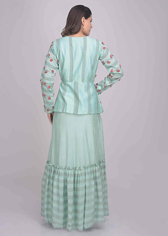 Mint blue floor length cotton silk dress with full sleeves jacket only on Kalki