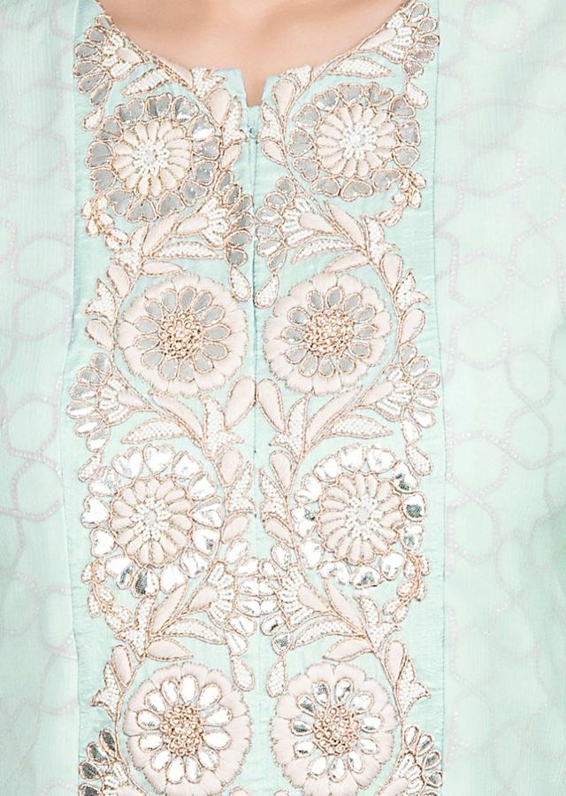 Mint Blue High Low Suit With Matching Sharara And Salmon Pink Dupatta Online - Kalki Fashion
