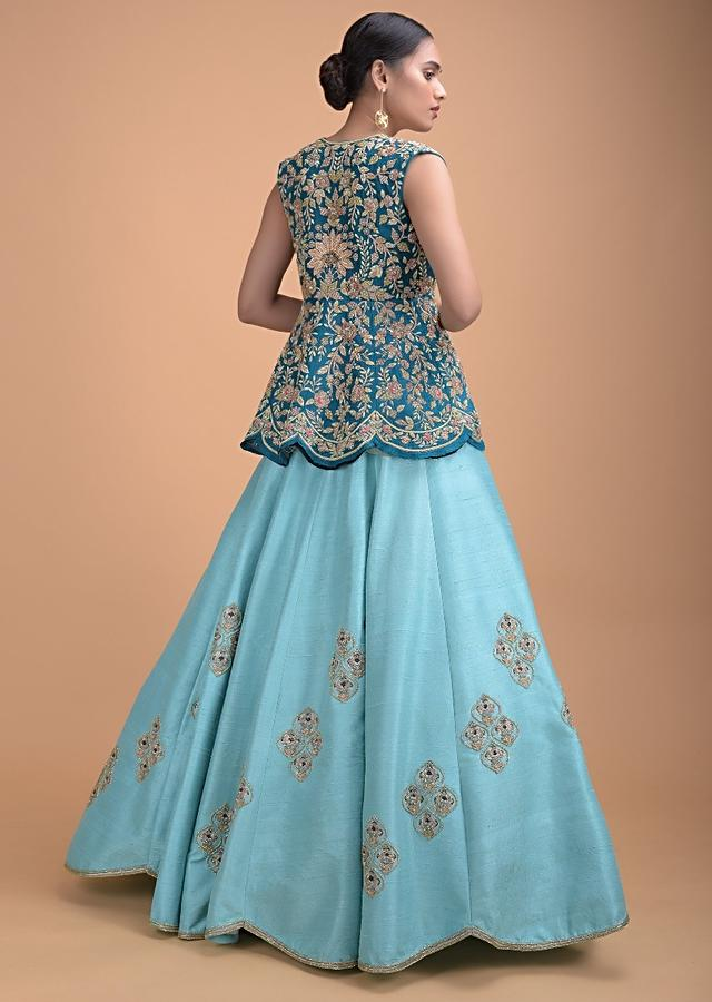 Sea Mists Lehenga Choli And A Teal Jacket With Hand Embroidery Work Online - Kalki Fashion