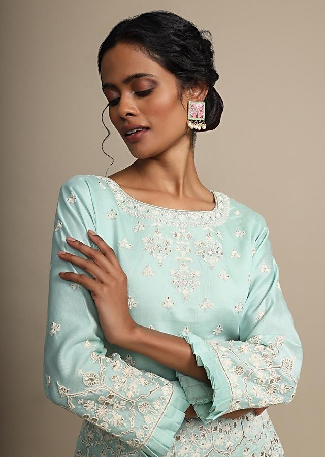 Mint Blue Palazzo Suit In Cotton Silk With Heavy Thread Embroidery Online - Kalki Fashion