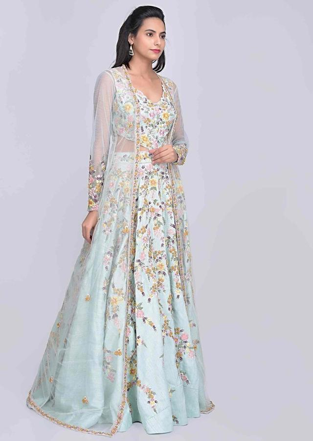 Mint blue raw silk gown with embroidered net jacket only on Kalki