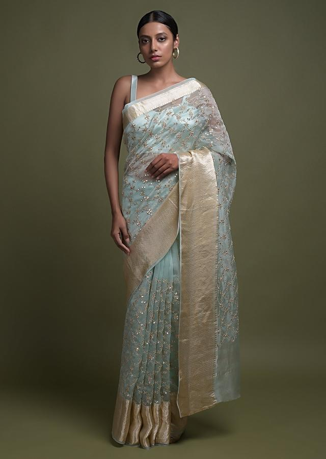 Mint Blue Saree In Organza With Gotta Patch, Zari And Sequins Work In Moroccan Mesh Pattern Online - Kalki Fashion