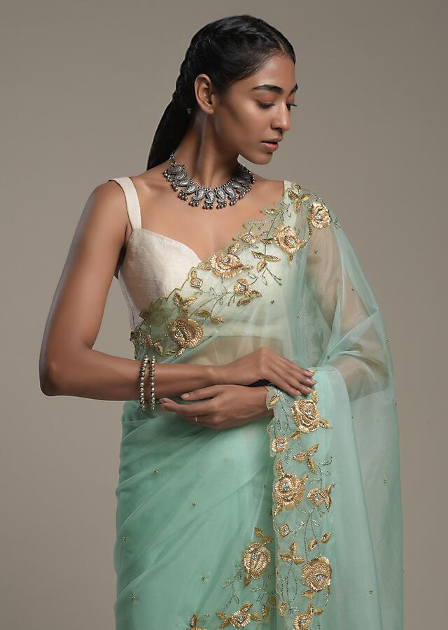 Mint Blue Saree In Organza With Hand Embroidered Border And Unstitched Blouse Piece Online - Kalki Fashion