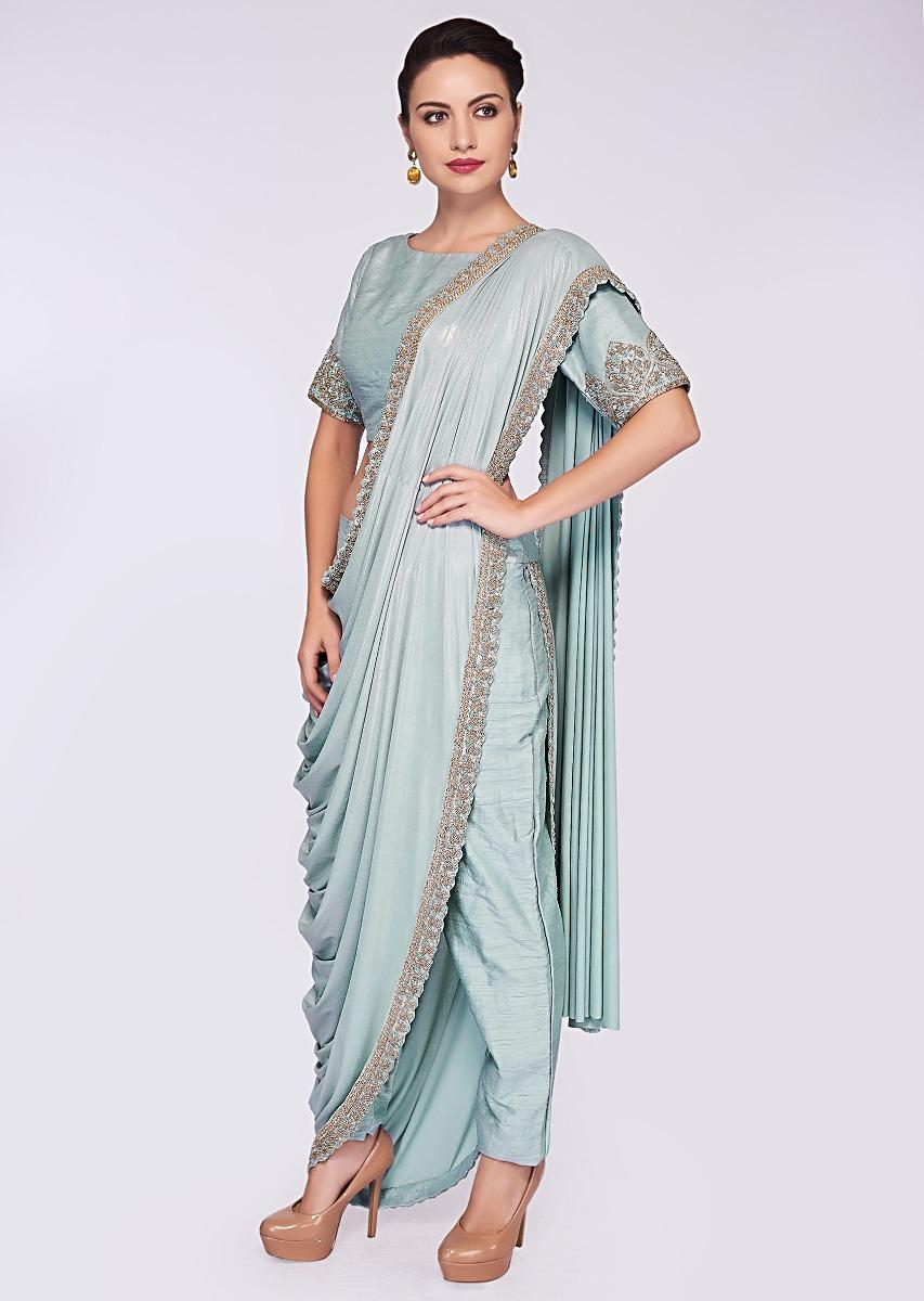 61ca97583dd Mint blue saree with pant enhanced with a lycra top layer only on Kalki