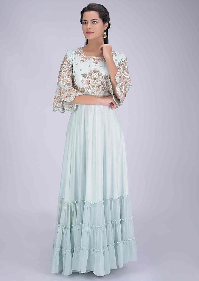 Mint blue tiered cotton silk gown with embellished bodice only on Kalki