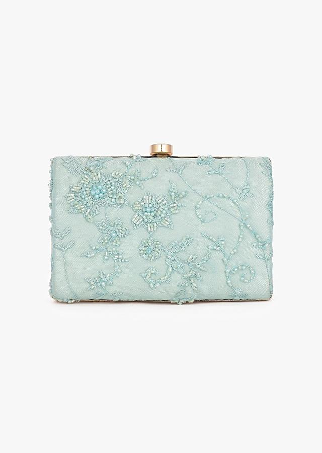 Mint Box Clutch In Embroidered Net With Cut Dana And Resham Embroidered Floral Motifs Placed In Abstract Design Online - Kalki Fashion