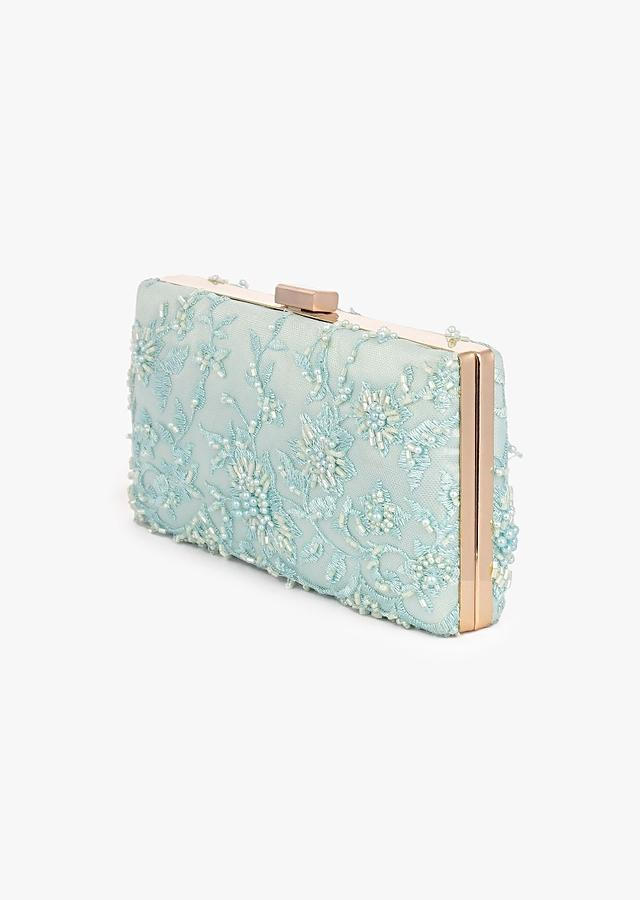 Mint Elongated Box Clutch In Embroidered Net With Metal Clasp And Cut Dana And Resham Embroidered Floral Motifs Placed In Abstract Design Online - Kalki Fashion