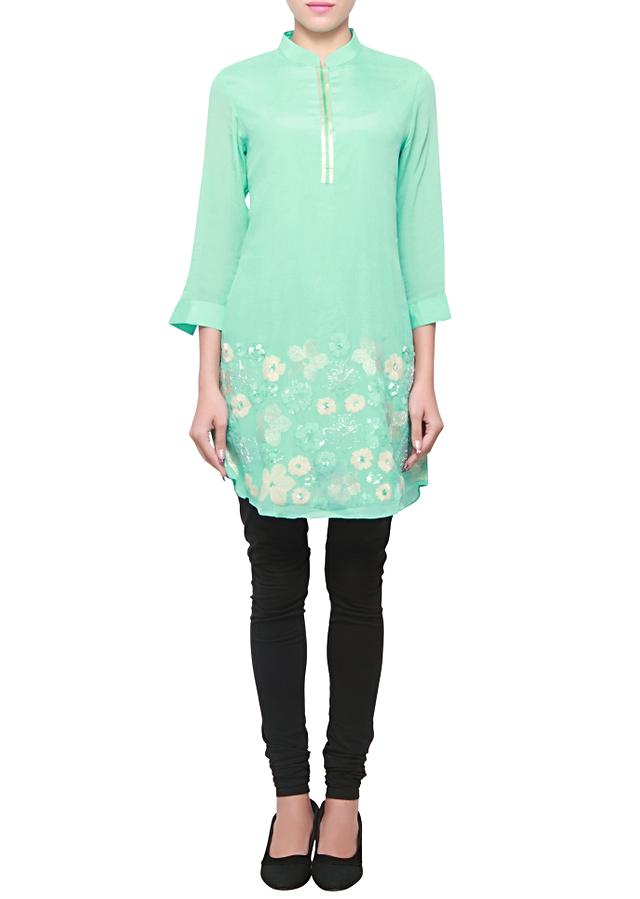 Mint georgette kurti enhanced in thread and sequence embroidery only on kalki