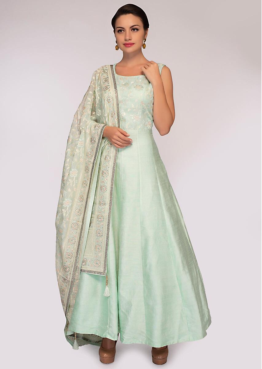 a6dd3171521d98 Mint green anarkali dress paired with matching chiffon dupatta only on  Kalki More Detail