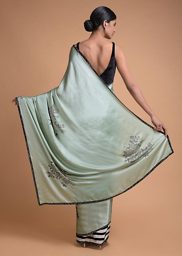 Mint Green And Stripe Printed Half And Half Saree With Kundan Work In Floral Motifs Online - Kalki Fashion