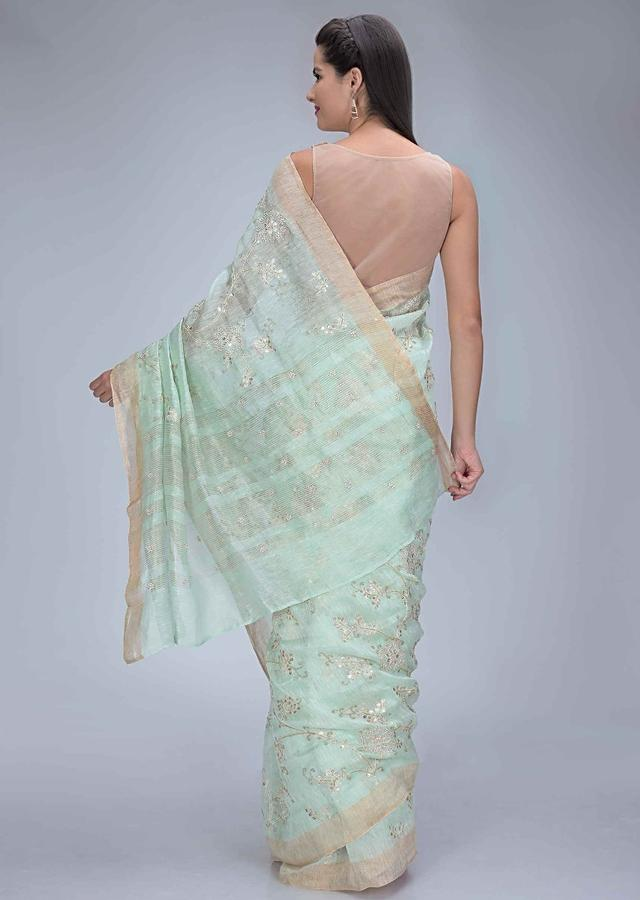 Mint Green Saree In Cotton Silk With Gotta Patch Floral Embroidery Work Online - Kalki Fashion