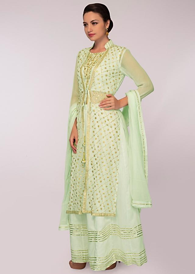 Mint Green Skirt In Cotton Paired With Embroidered Long Jacket And Matching Chiffon Dupatta Online - Kalki Fashion