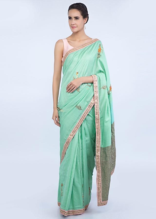 Mint Green Saree In Dupion Silk With Weaved Butti And Pallo Online - Kalki Fashion