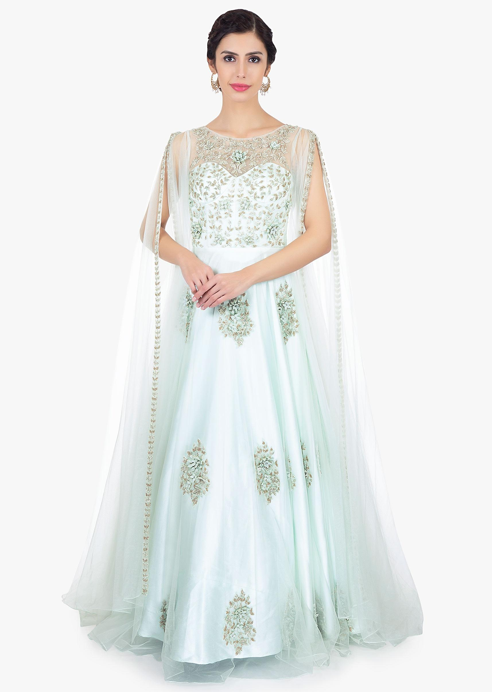 19d098b18d Mint green embroidered net gown with long fancy sleeves with slits only on  KalkiMore Detail
