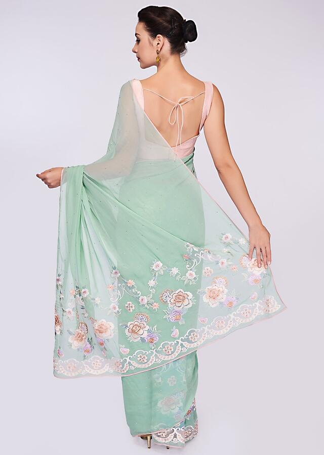 Mint Green Georgette Saree With In Floral Resham Embroidery On The Border Online - Kalki Fashion