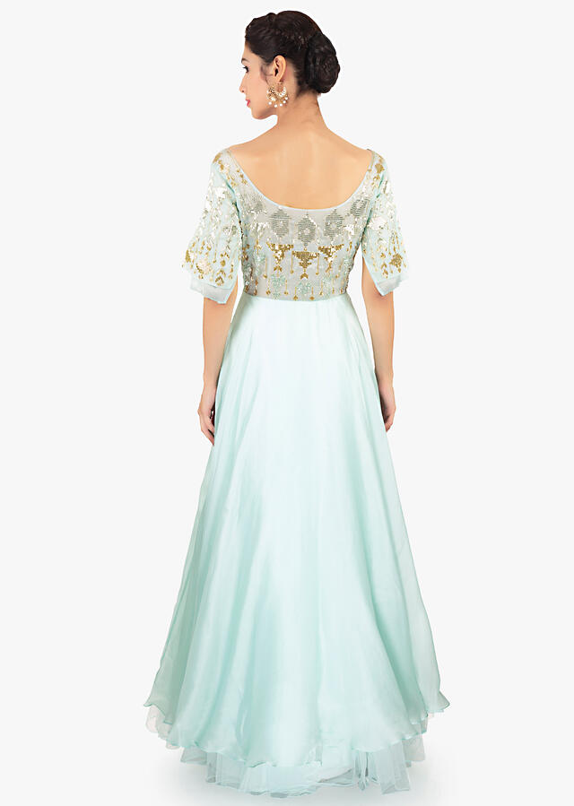 Mint Green Gown Designed With Over Lapping Sleeves And Layers Online - Kalki Fashion