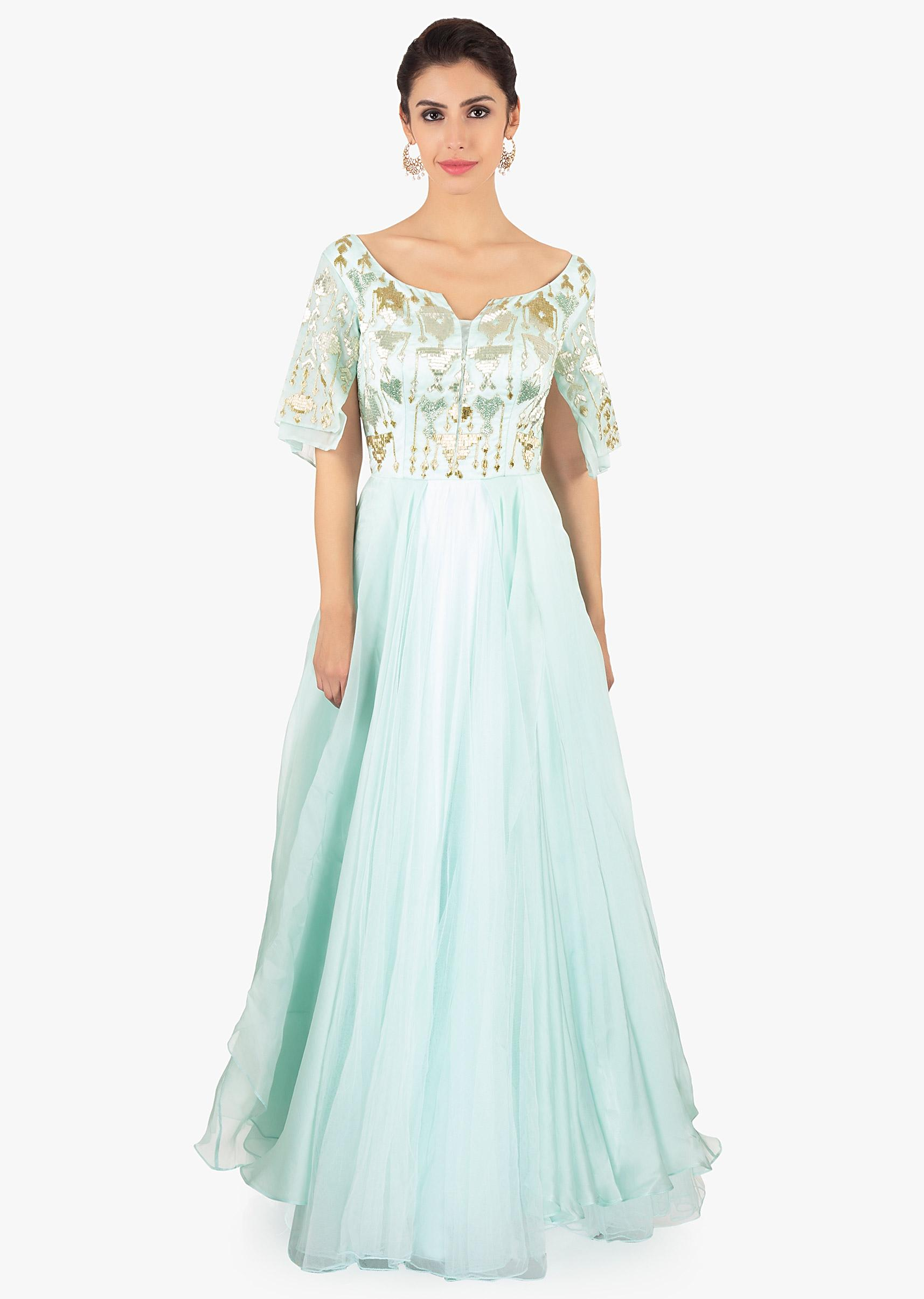 luxury fashion enjoy big discount store Mint Green Gown Designed With Over Lapping Sleeves And Layers Online -  Kalki Fashion