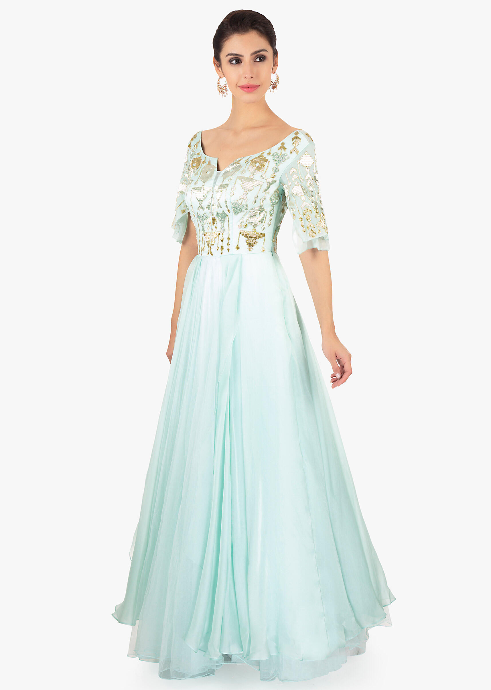 26539aee4851 Mint green gown designed with over lapping sleeves and layers only on Kalki
