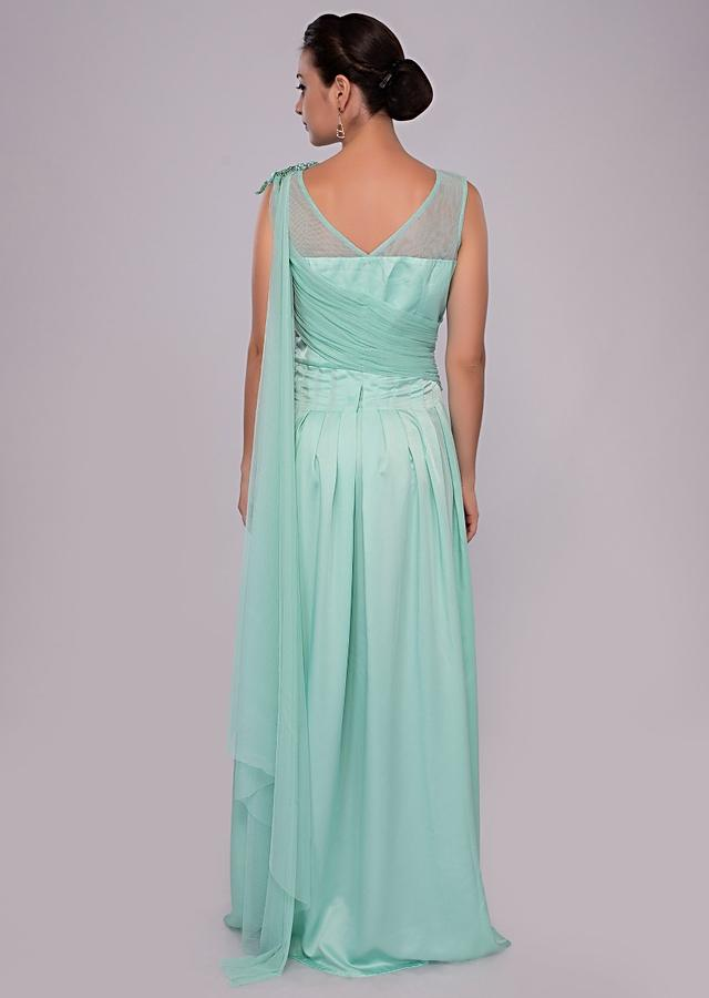Mint Green Gown With Floral Embroidery And Pleated Bodice Online - Kalki Fashion