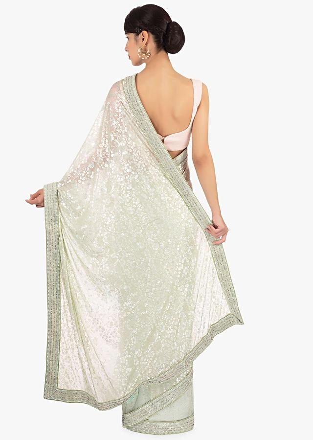 Mint Green Half And Half Saree In Net And Jacquard Lycra Online - Kalki Fashion