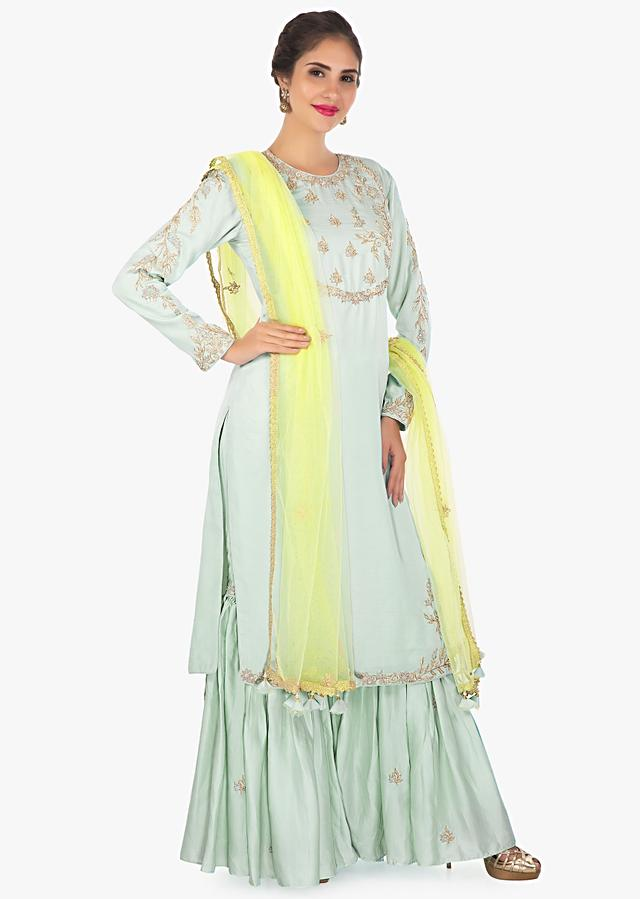 Mint Green Kurti In Zardosi And Sequins Embroidery With Sharara Pant And Yellow Net Dupatta Online - Kalki Fashion