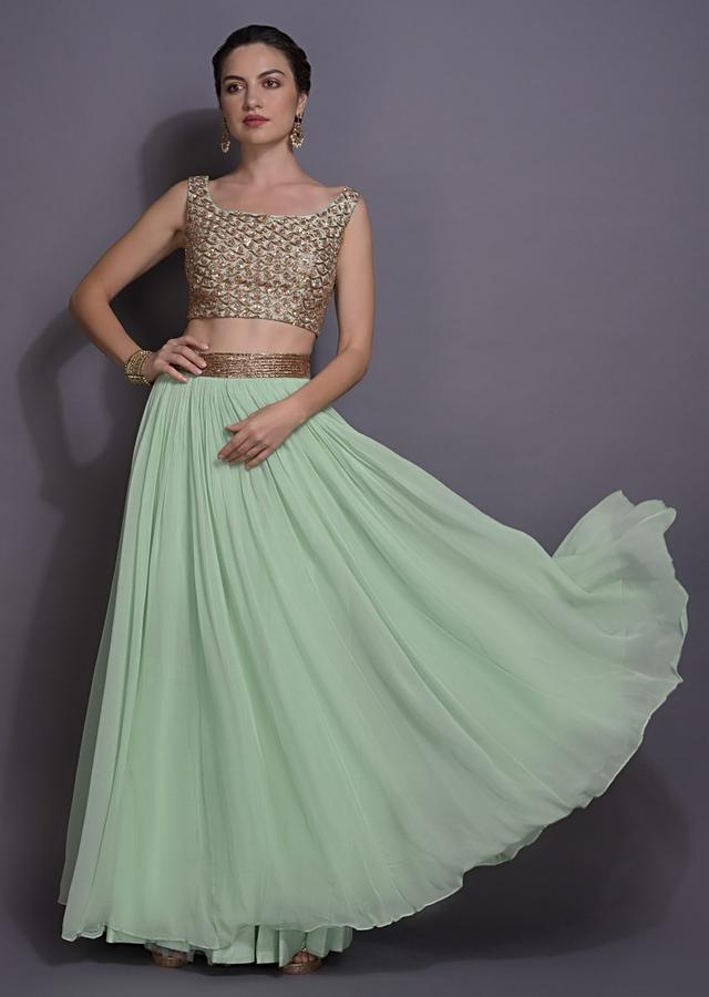 Mint Green Lehenga And Crop Top With Floral Embroidered Long Jacket Online - Kalki Fashion