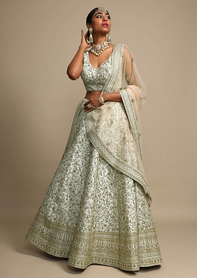 Mint Green Lehenga Choli In Raw Silk With Zari And Moti Embroidered Floral Jaal Online - Kalki Fashion