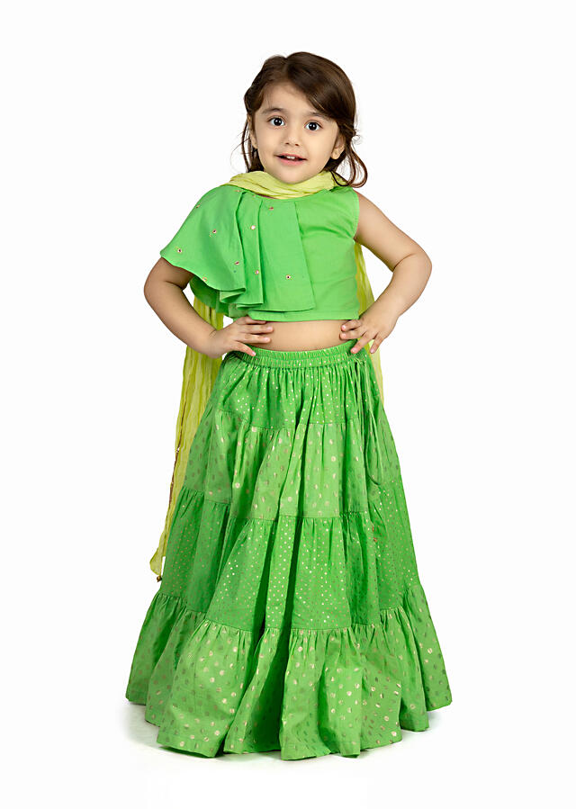 Mint Green Lehenga With Polka Dots And A One Sleeved Choli In Cotton By Mini Chic