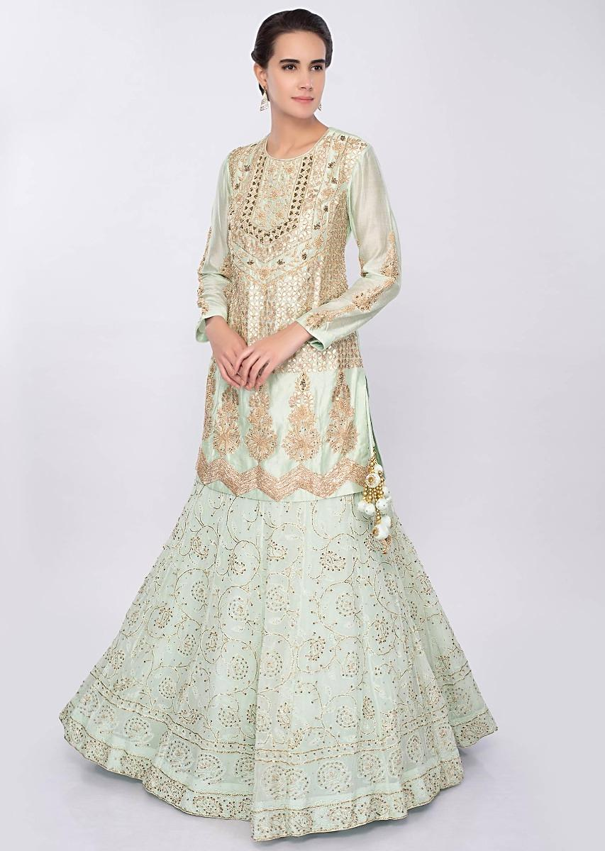 50bbf40dcd Mint green lucknowi embroidered georgette lehenga only on Kalki