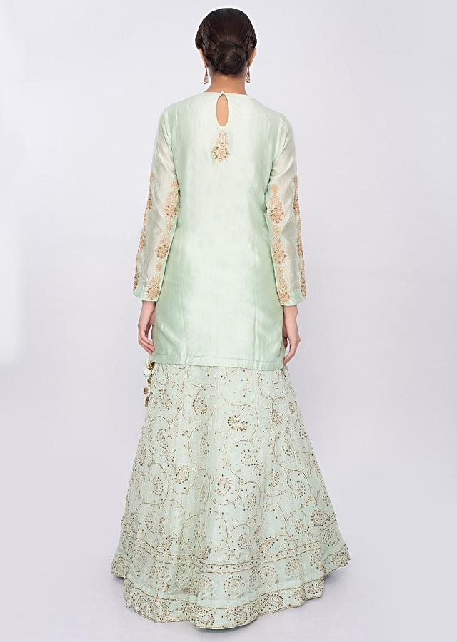 Mint Green Lehenga In Georgette With Lucknowi Embroidery Online - Kalki Fashion