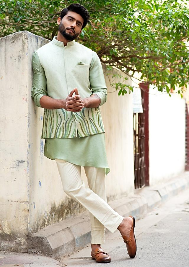 Mint Green Nehru Jacket With Resham Embroidered Leaf Design And Stitch Lines By Smriti Apparels