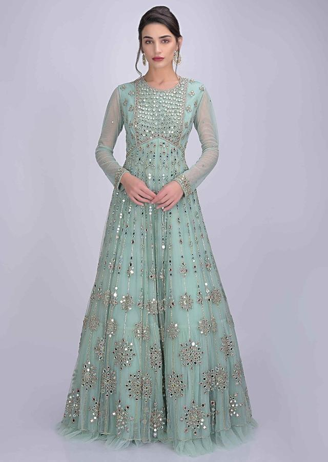 Mint Green Anarkali Suit In Net Embellished With Abla Work Online - Kalki Fashion