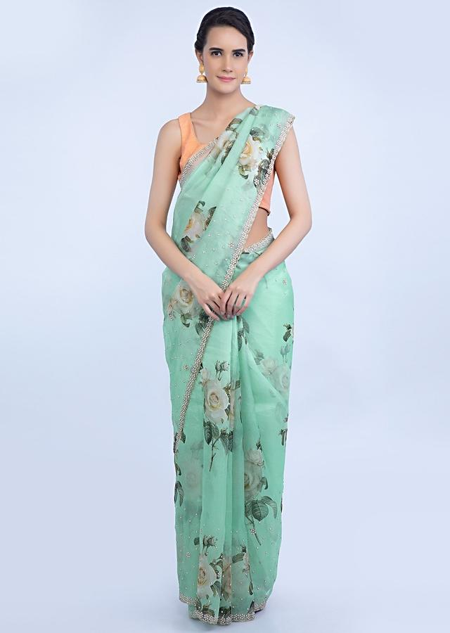 Mint Green Saree In Organza Linen With Floral Digital Print Online - Kalki Fashion