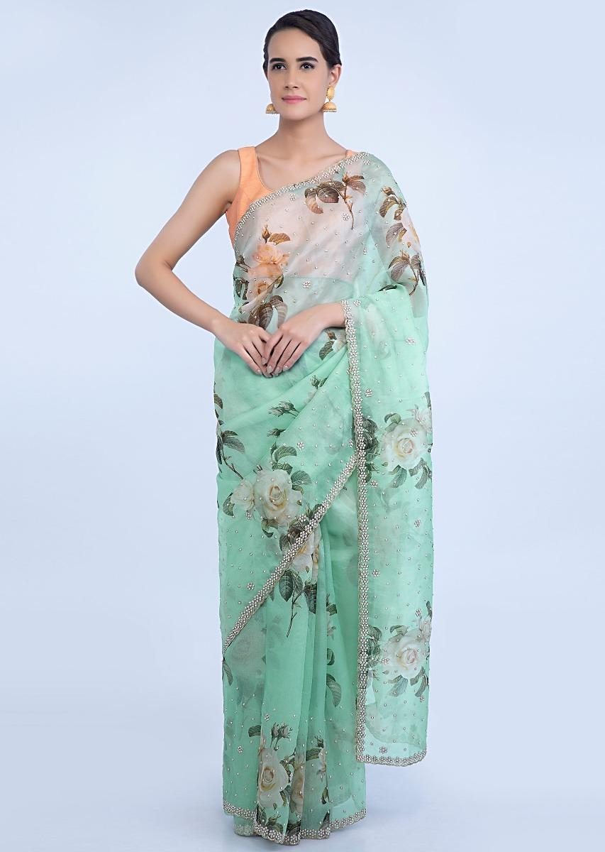 87b9db50d878c Mint green organza linen saree in floral digital print only on KalkiMore  Detail