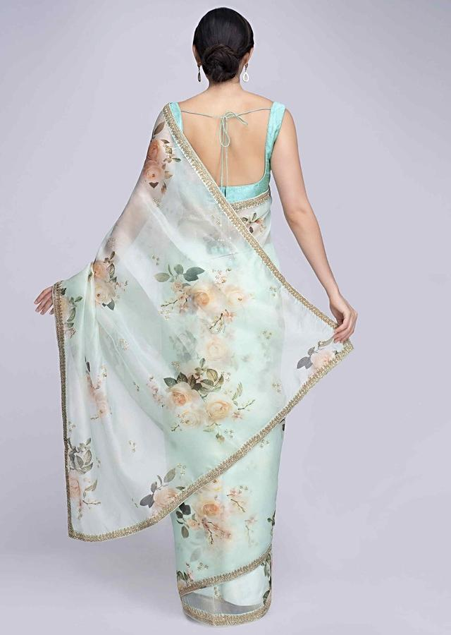 Mint green organza saree in digital floral print only on Kalki