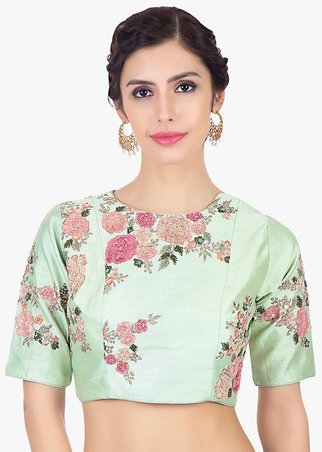 Mint Green Blouse In Raw Silk With Velvet And Zari Floral Embroidery Online - Kalki Fashion