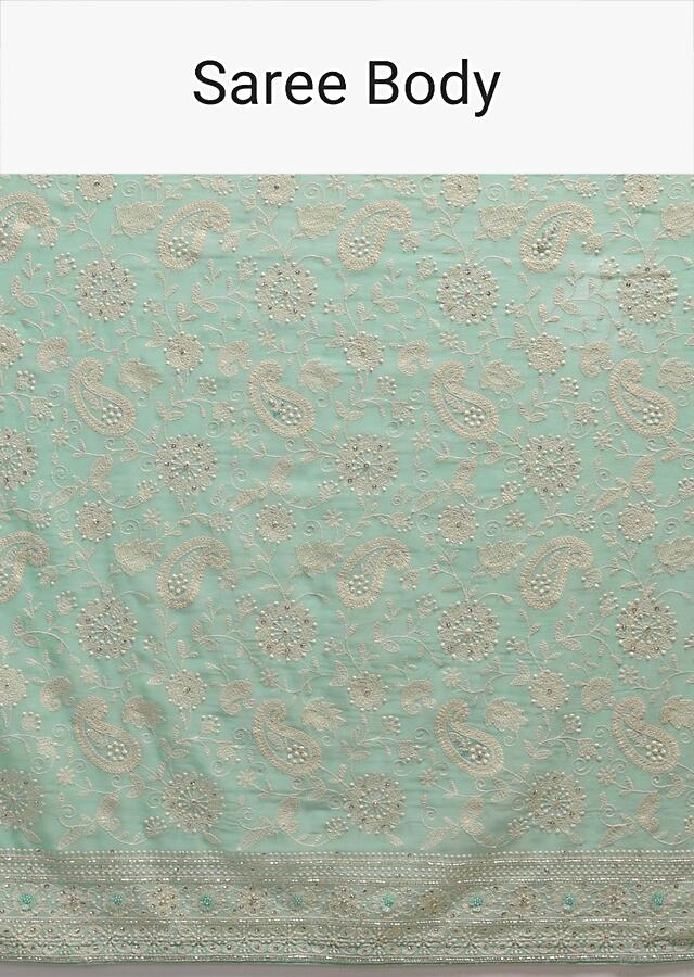 Mint Green Saree In Georgette Adorned With Lucknowi Thread Embroidery In Paisley Jaal Online - Kalki Fashion